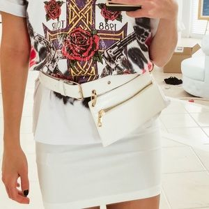 White Faux Snake Skin Belt Bag